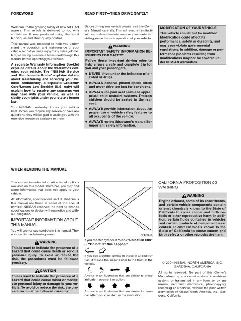 manual de usuario nissan sentra 2004