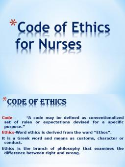 code ethics nursing Code of ethics in nursing it is important to make sure the staff and patients are being respected and treated with dignity the study of ethics has lead to basic concept such as justice and fidelity, autonomy, beneficence and nonmaleficence.