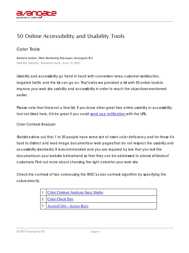 Online coloring tools - 50 Online Accessibility And Usability Tools