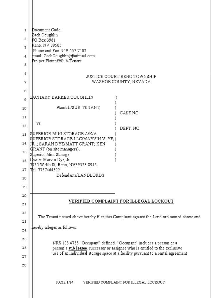9 22 12 0204 62337 Rev2012 078432 Verified Complaint For Illegal Lockout  Against Superior Storage LLC 9 22 12 Coughlin V Superior Storage LLC Et Al  (1) Ocrd ...