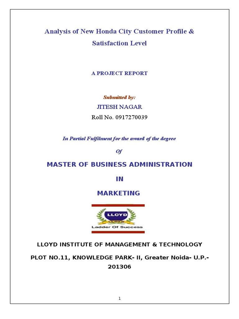 Analysis of New Honda City Customer Profile & Satisfaction Level ...