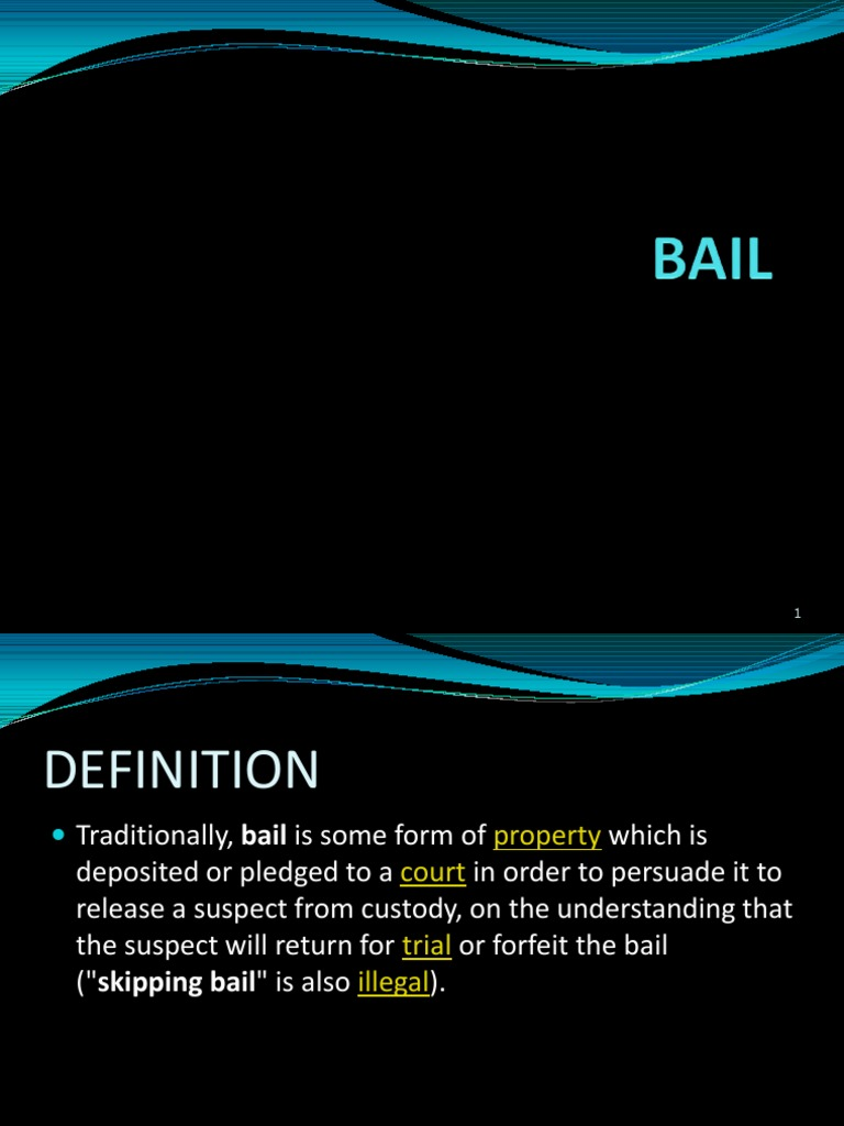 definition of bail Bail out, to make a parachute jump from an airplane to relieve or assist (a person, company, etc) in an emergency situation, especially a financial crisis: the corporation bailed out its failing subsidiary through a series of refinancing operations.