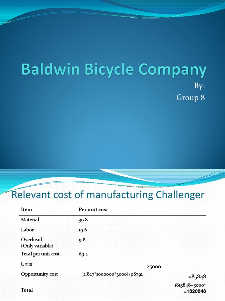 baldwin bicycle case solution View essay - baldwin bicycles - solution from mgmt 505 at purdue baldwin bicycles case case questions: 0 what background information is relevant 1 what are the relevant costs of making.
