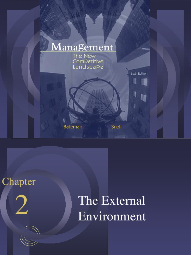ba credits to bateman and snell External factors determine how companies conduct business (bateman & snell, 2009) the contributors of the external factors of an organization not only consist of customers and suppliers but also the economy, the government, and the competitors (bateman & snell, 2009.