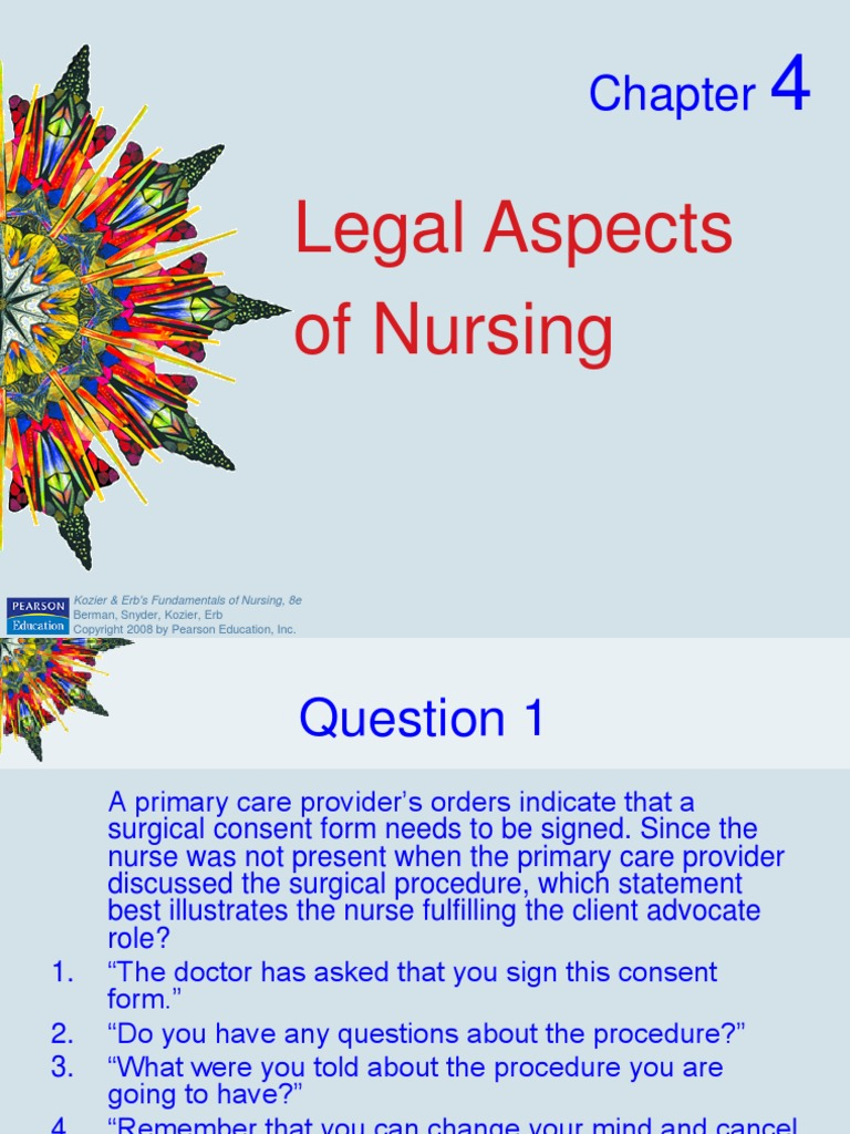 legal aspects of nursing Purpose the purpose of this course is to instruct the nurse learner on legal aspects of nursing that could impact her licensure nurses are legally, ethically and morally responsible for delivering safe and competent care in the scope of their nursing practice.