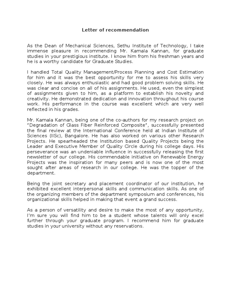 Download College Admissions Recommendation Letter Leadership