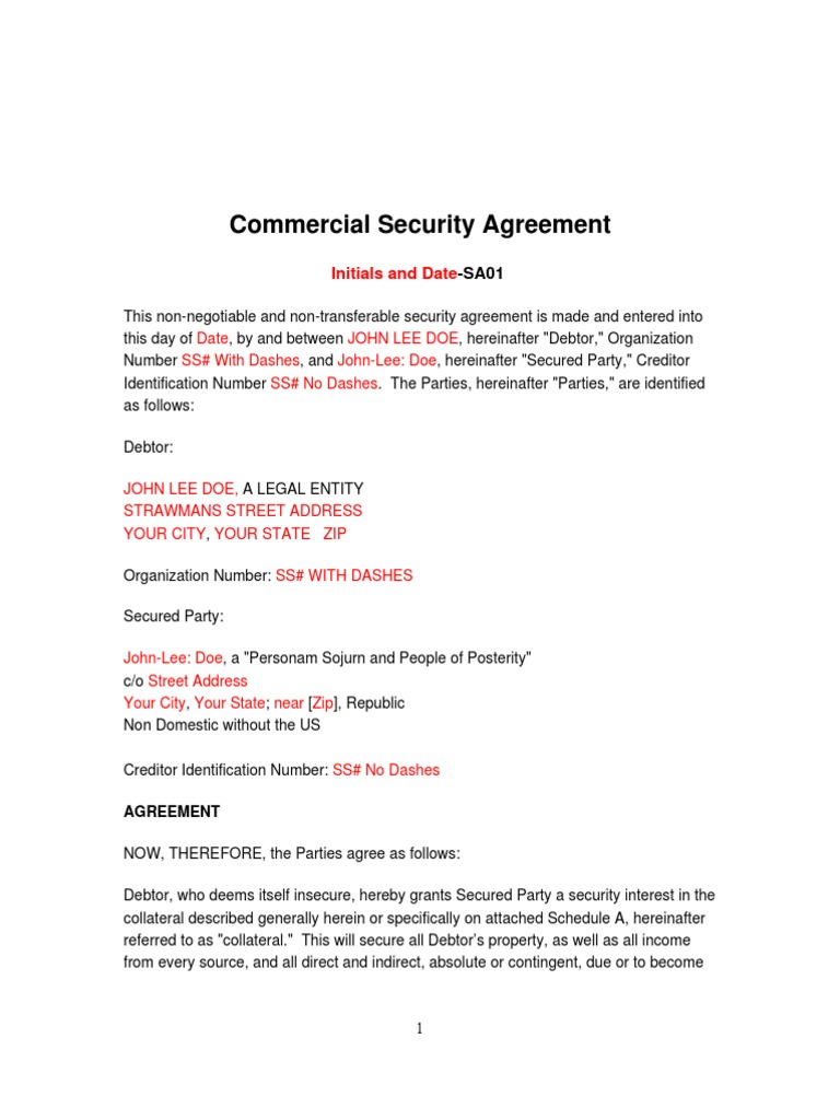 Commercial Security Agreement Docshare