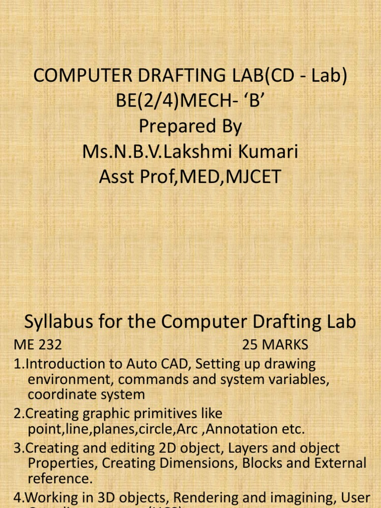 Computer Drafting Lab(CD Lab) Final
