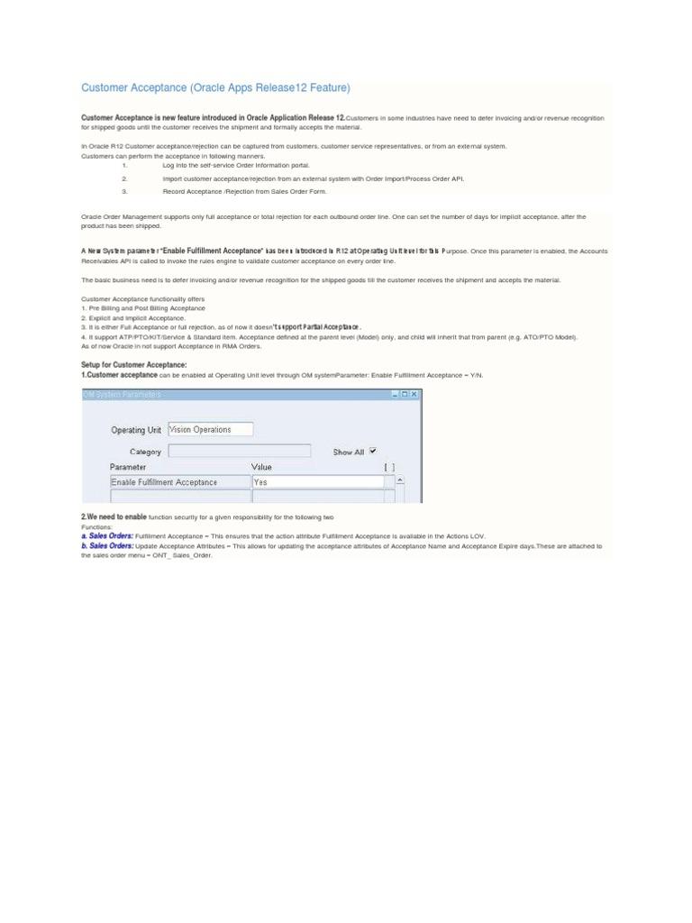 Download Customer Acceptance Order Management R12 - DocShare
