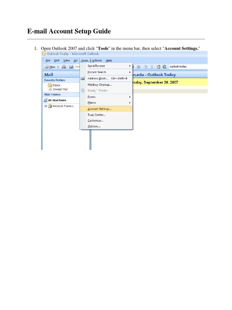 E Mail Account Setup Guide Open Outlook