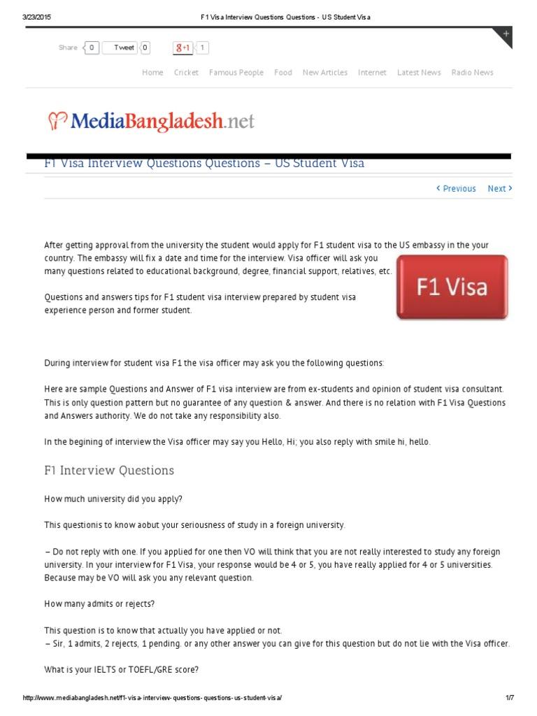F1 Visa Interview Questions Questions - US Student Visa