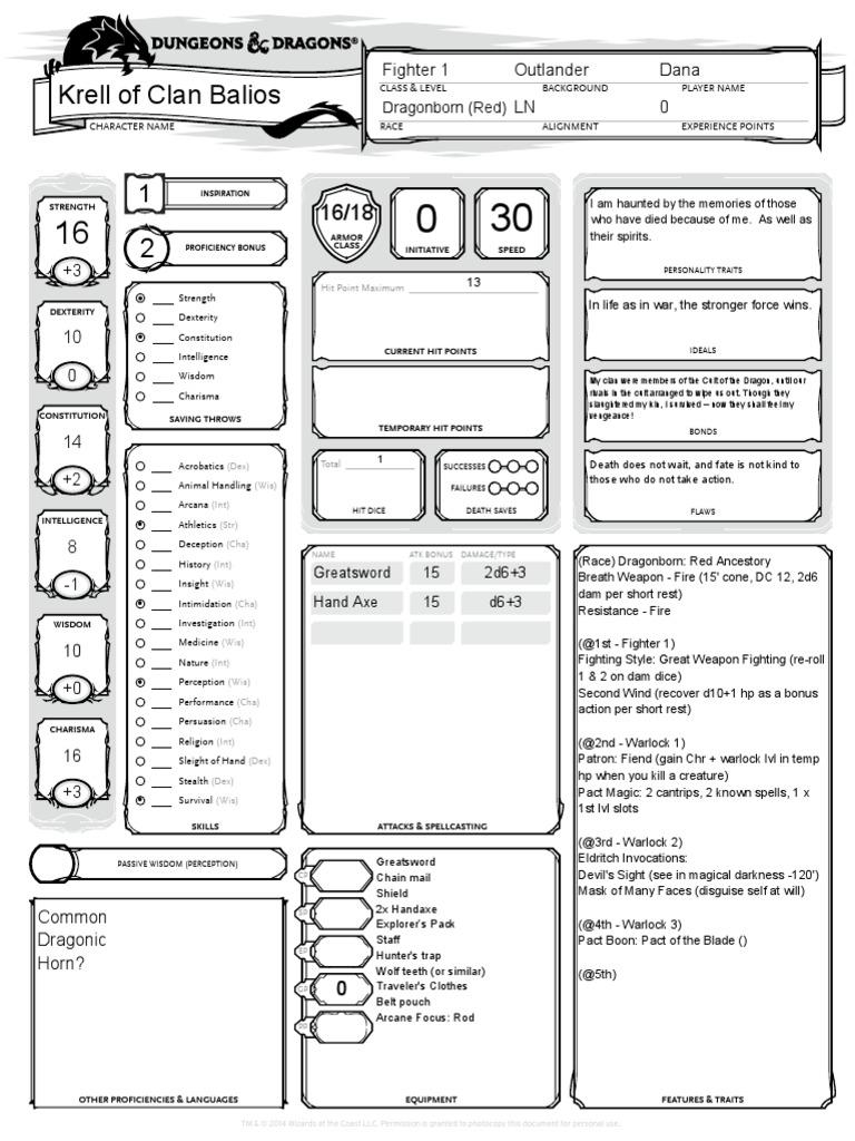 rogue character sheet