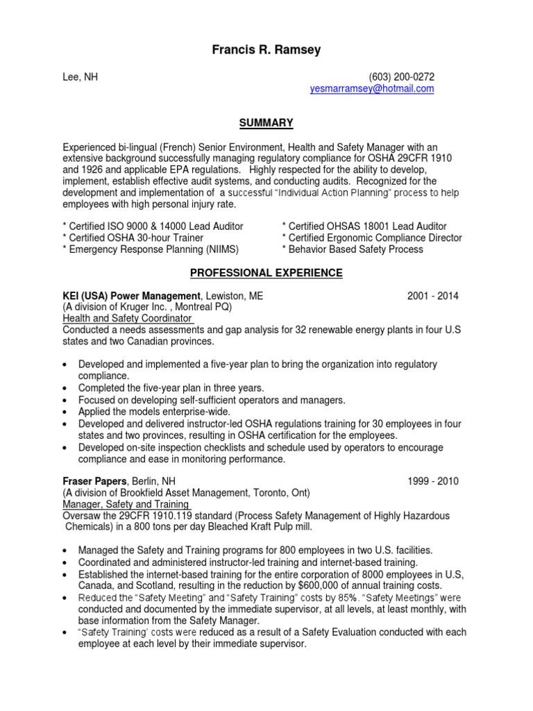 Ehs resume sample