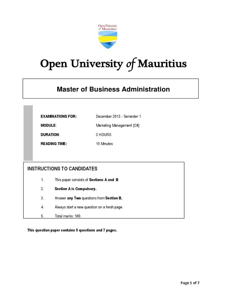 mba examination paper of marketing management Anna university of technology- chennai mba - marketing management ( feb )- 2011 question papers.