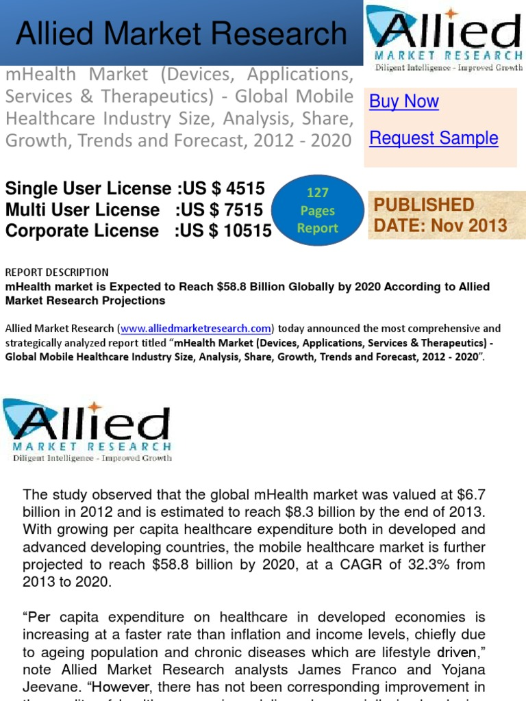 mhealth market is expected to reach The mhealth app market will grow by 15% to reach $31 billion by 2020  the market is currently valued at $10 billion and is expected to grow with a cagr of 15% to $31 billion by 2020  which builds on research2guidance's mhealth market model the model has been continually updated and improved over a number of years, showing that the.