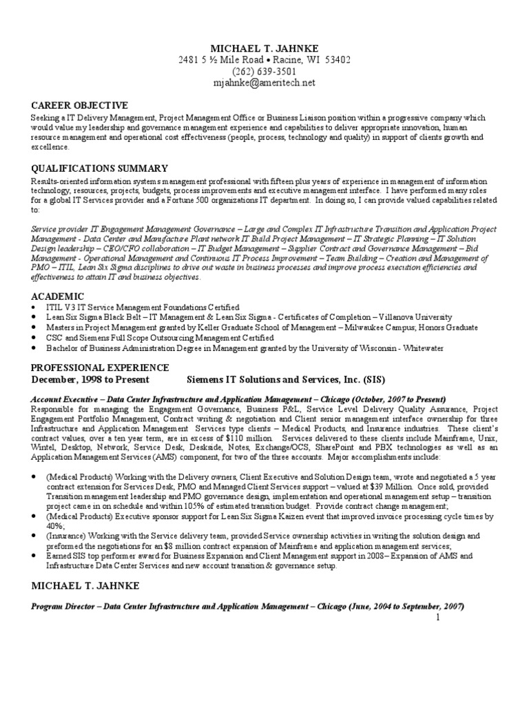 id card pmo docshare tips mike jahnke resume for it pmo or account executive