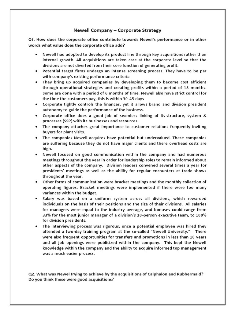 newell company corporate strategy essay Newell's corporate-level strategy is considered to be one of the most successful strategies a growth oriented firm could adapt the company's corporate strategy is founded on well- established pillars that greatly emphasize on growth and expansion through acquisitions of reputable brands in its industry of operation.