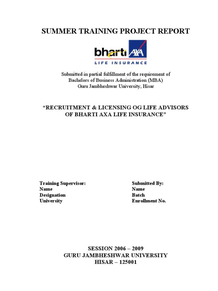 selection and recruitment of life advisors for bharti axa life insurance co ltd For bharti axa life insurance company ltd parag aggarwal branch manager (delhi) bharti axa life insurance company ltd 8-b, tej building, bahadur shah zafer marg.