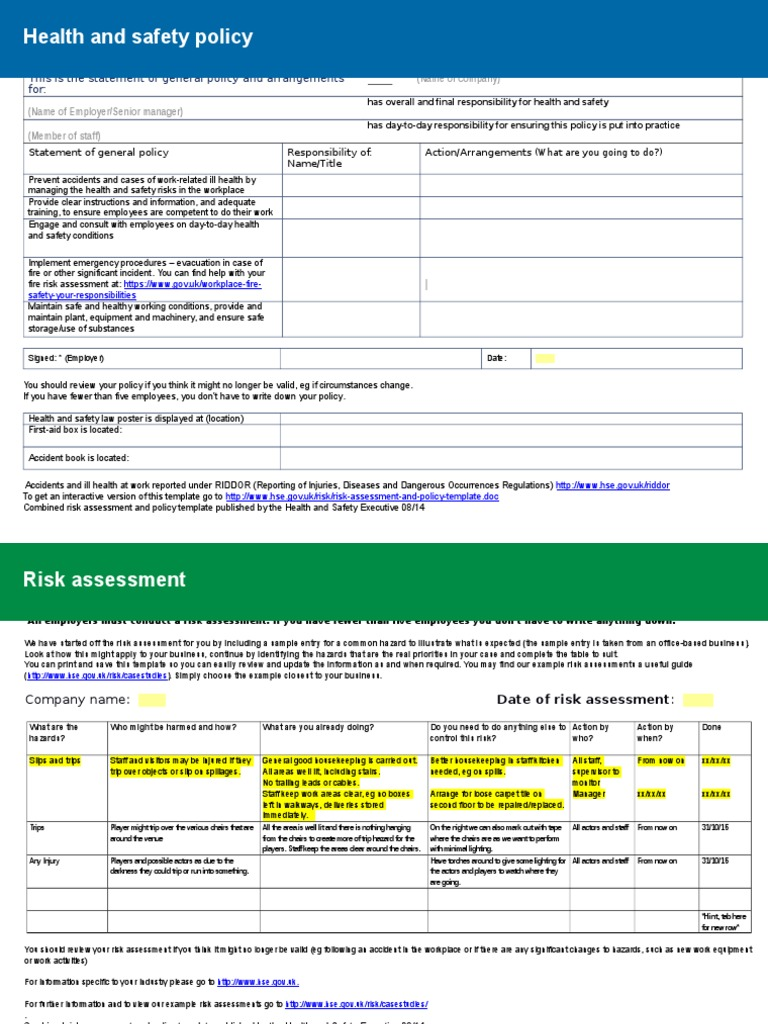 health and safety policy risk assessment