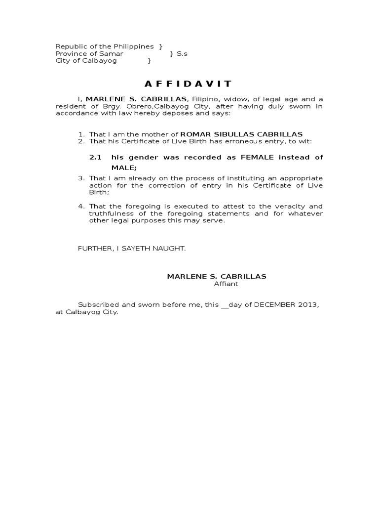 sample affidavit correction entry