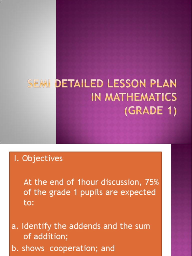 math semi detailed lesson plan