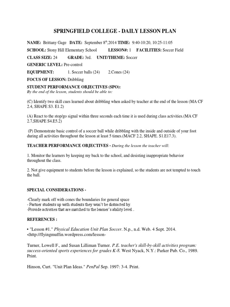 Download Elementary Music Lesson Plan Template DocSharetips - Soccer lesson plan template