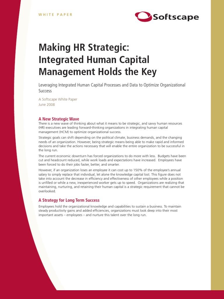 strategic human resource management the key