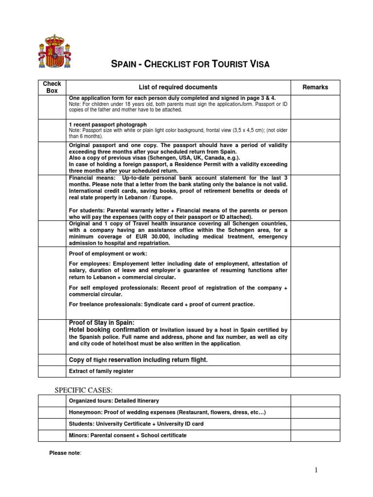 Spain checklist for tourist visa docsharetips for Documents checklist passport