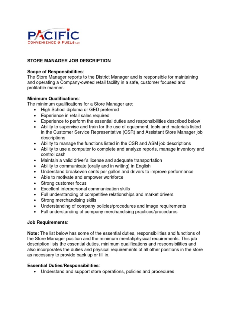 Download Store Manager Job Application - DocShare.tips