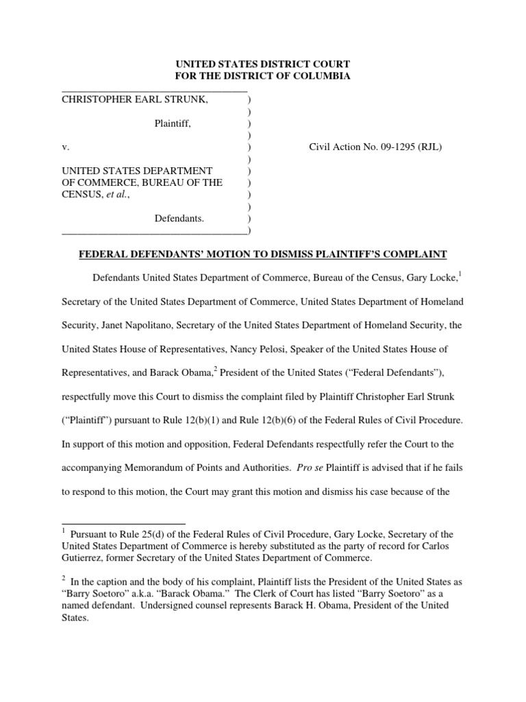 strunk v census 21 motion to dismiss plaintiff 39 s complaint by janet napolitano united. Black Bedroom Furniture Sets. Home Design Ideas