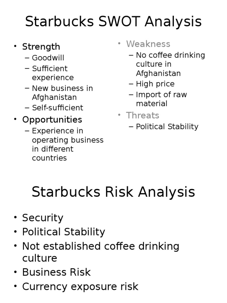 swot coffee and starbucks global quest Starbucks coffee antoine marion bayou julie swot strengths weaknesses • loyalty • communication • image • expensive products opportunities quality products customers' awareness• international market• fair trade threats orientation of customers'• competition quality experience choice.
