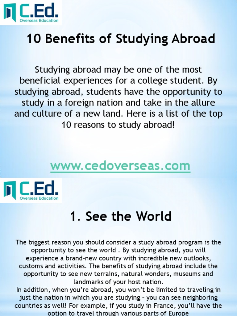 experience of studying abroad essay After all, you've come this far in the study abroad research process, so chances are you've already given thought to what the essay requires you to write about as long as you don't rush and take the time to create a solid outline, your study abroad application statement of purpose will truly shine.