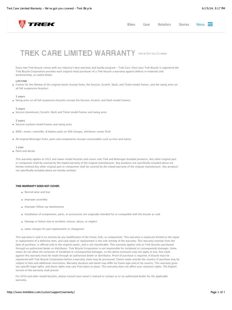 Trek Care Limited Warranty We Ve Got You Covered Trek Bicycle DocShare  tips  Trek Care. We39ve Got You