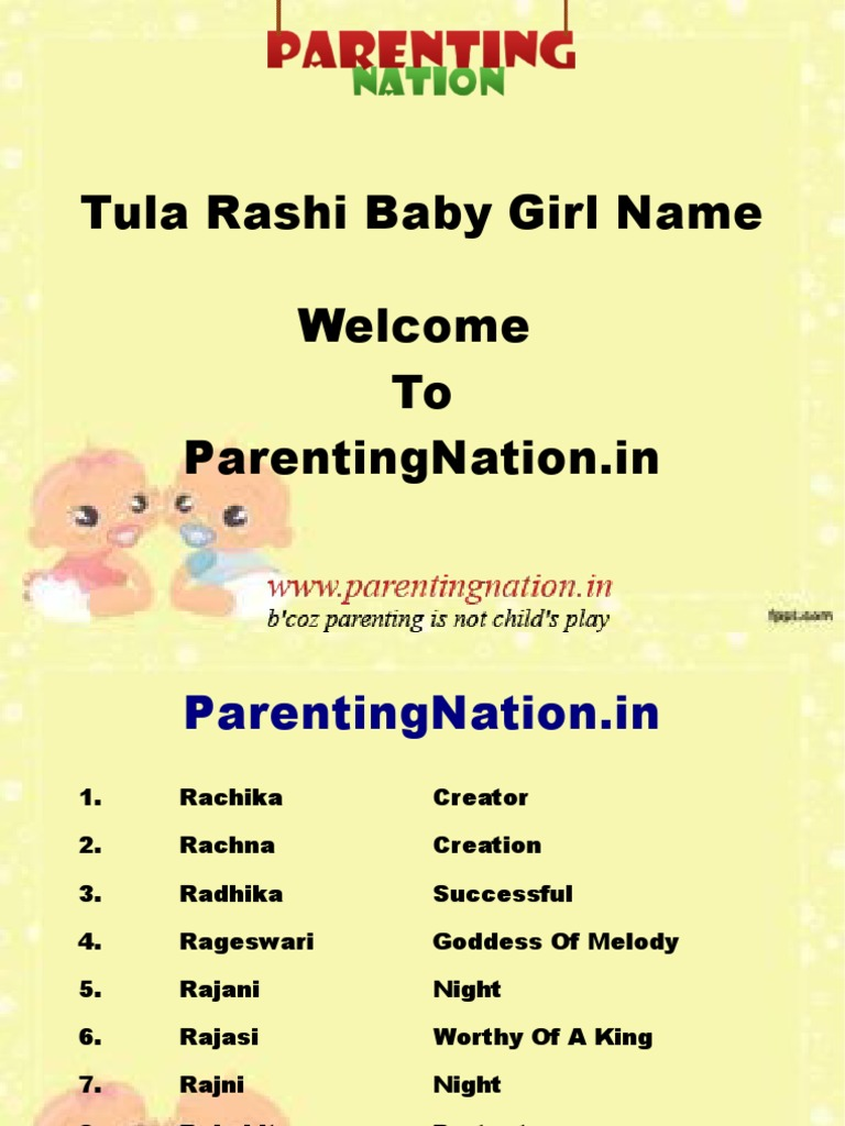 Tula Rashi Baby Girl Names With Meanings - DocShare tips