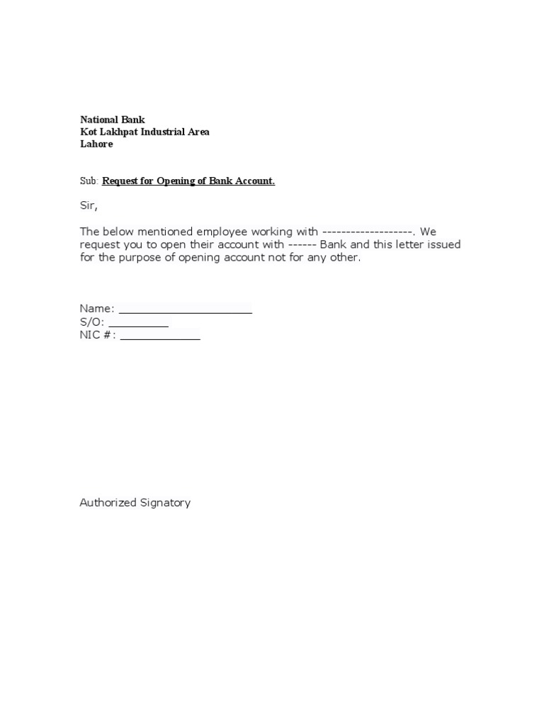 Reference letter for employee to open bank account letter to open bank account from company sample sample altavistaventures Gallery
