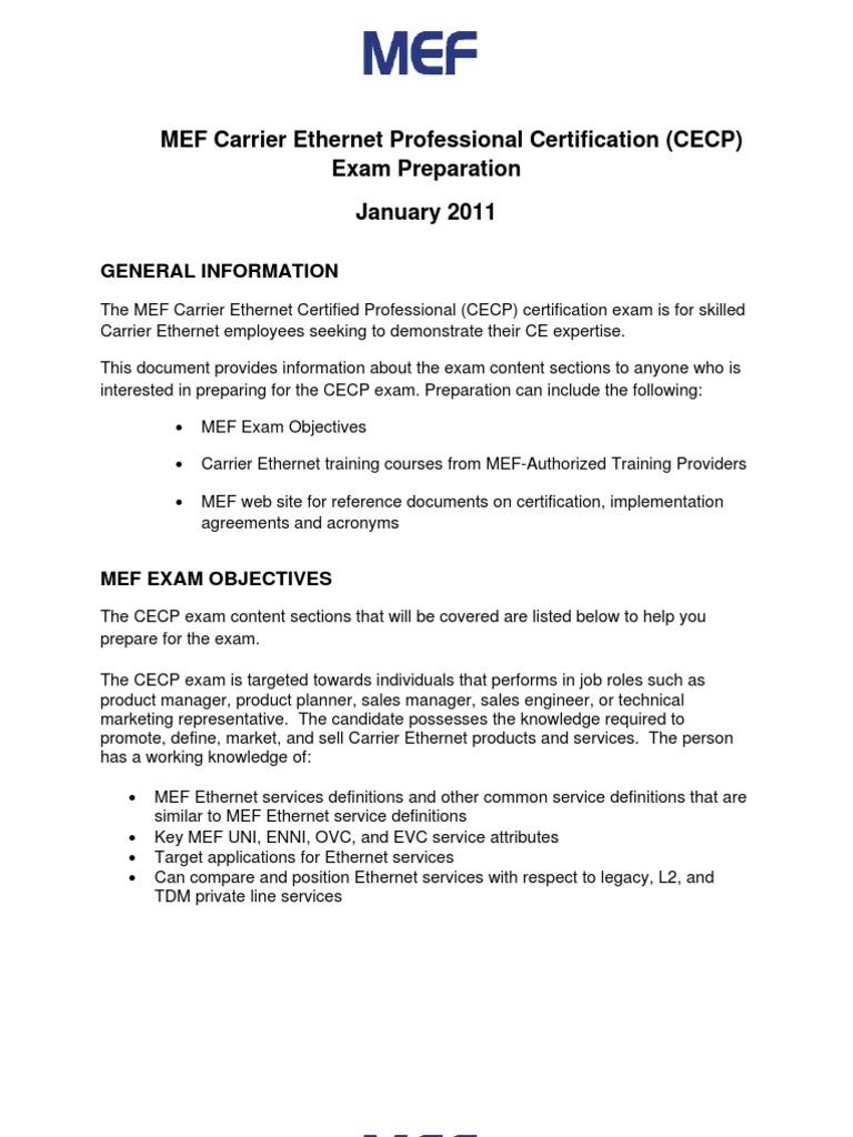 Mef Cecp Exam Preparation Docshare