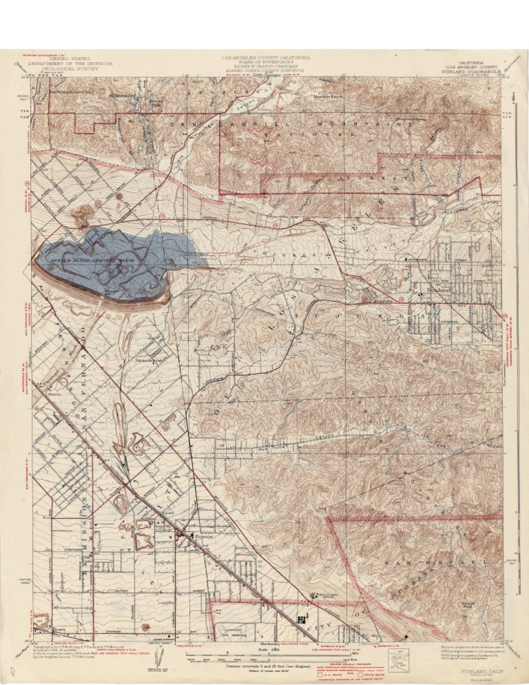 Download Topographic Map Of Sunland Los Angeles County Docshare Tips