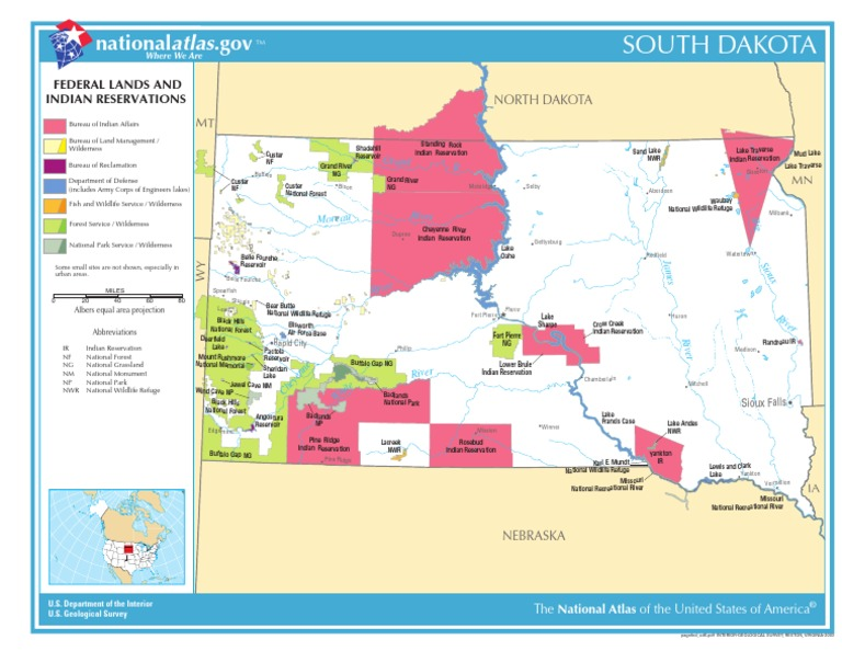 Map Of South Dakota Federal Lands And Indian Reservations - Map of us indian reservations