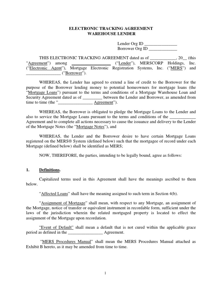 Download Mers Electronic Tracking Agreement Warehouse Template V6