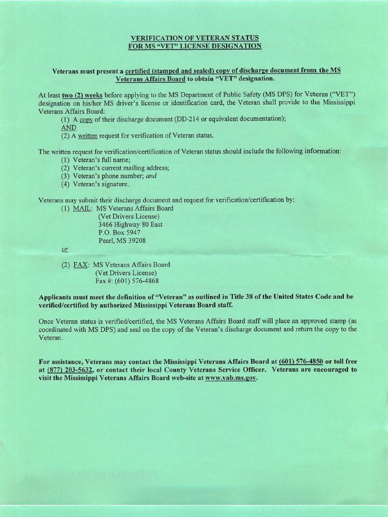 Verification of Veteran Status for MS \