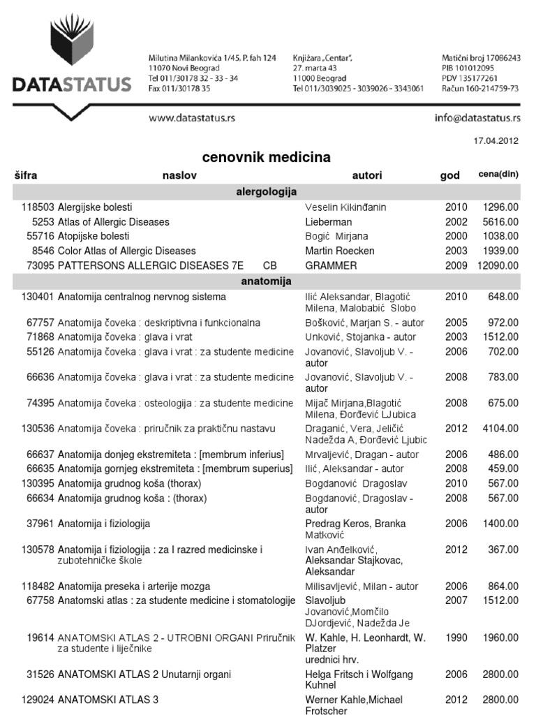Data Status Cenovnik Docsharetips