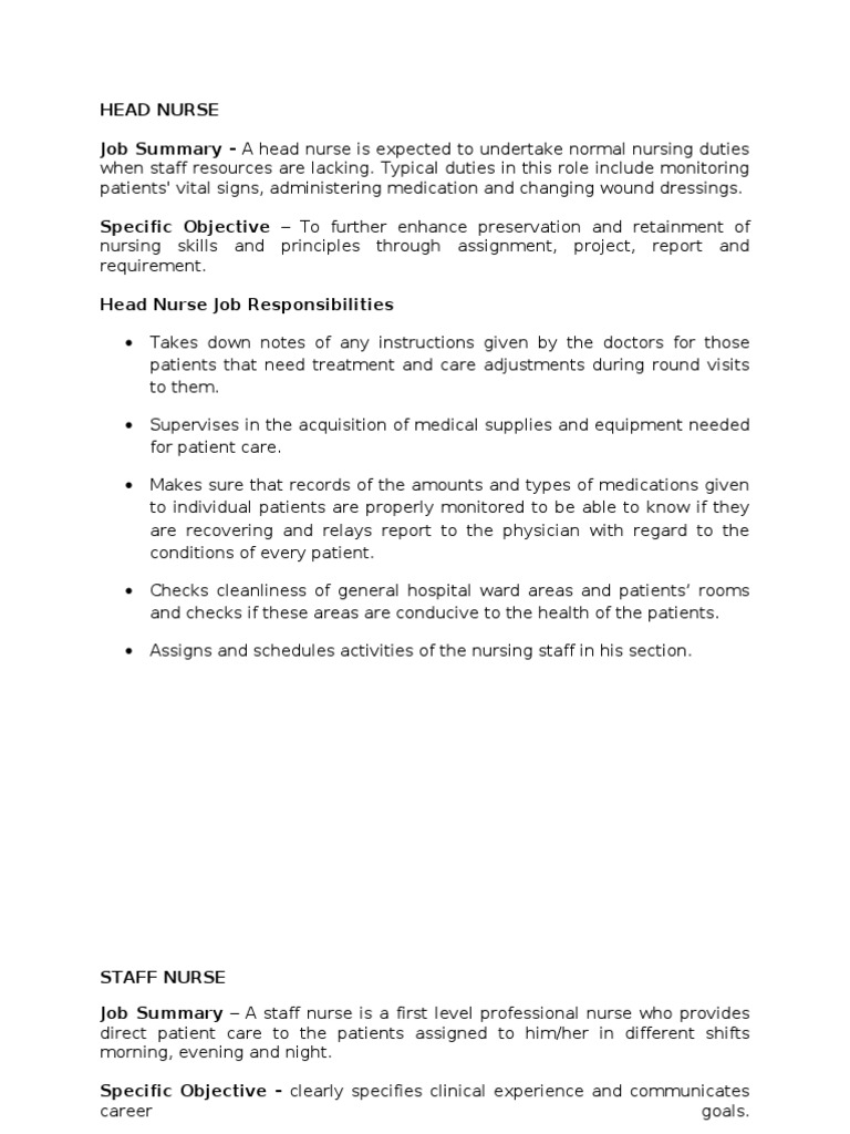 Duties and Responsibilities of a Head Nurse and Staff Nurse ...