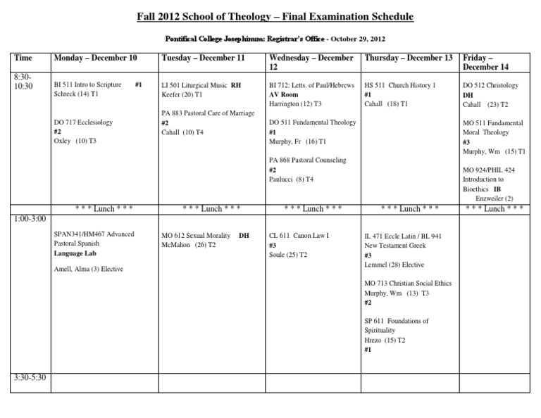 fall 2012 final exam Fall 2012 final exams spring 2012 calendar the friday, saturday, and sunday during the final exam period are also potential make-up days students and faculty must be available for the make-up day(s.