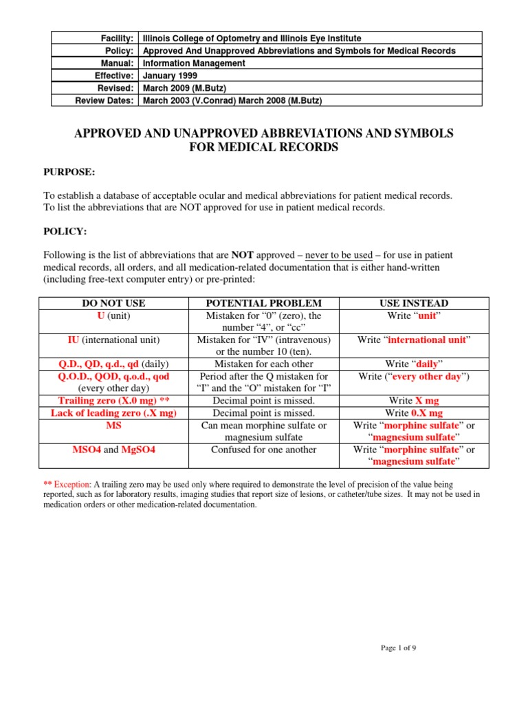 Approved And Unapproved Abbreviations For Medical Records Docshare