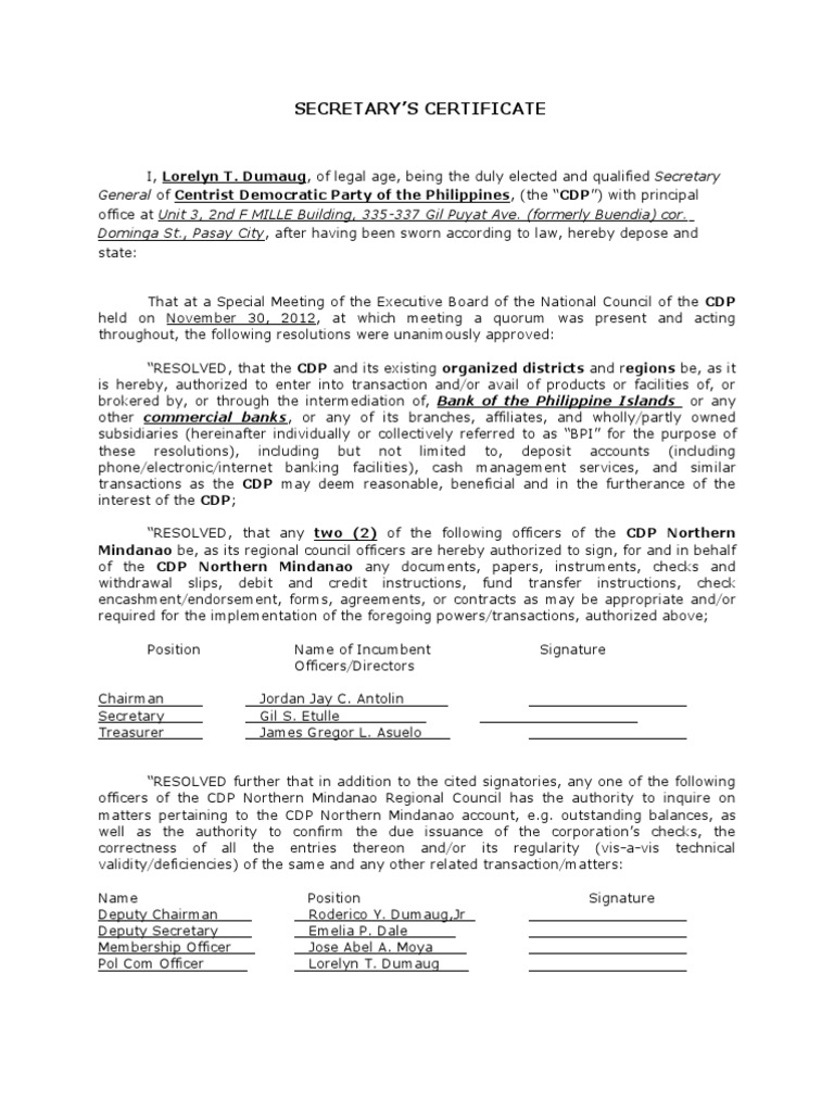 Sample Secretary Certificate For Bank Opening Docshare