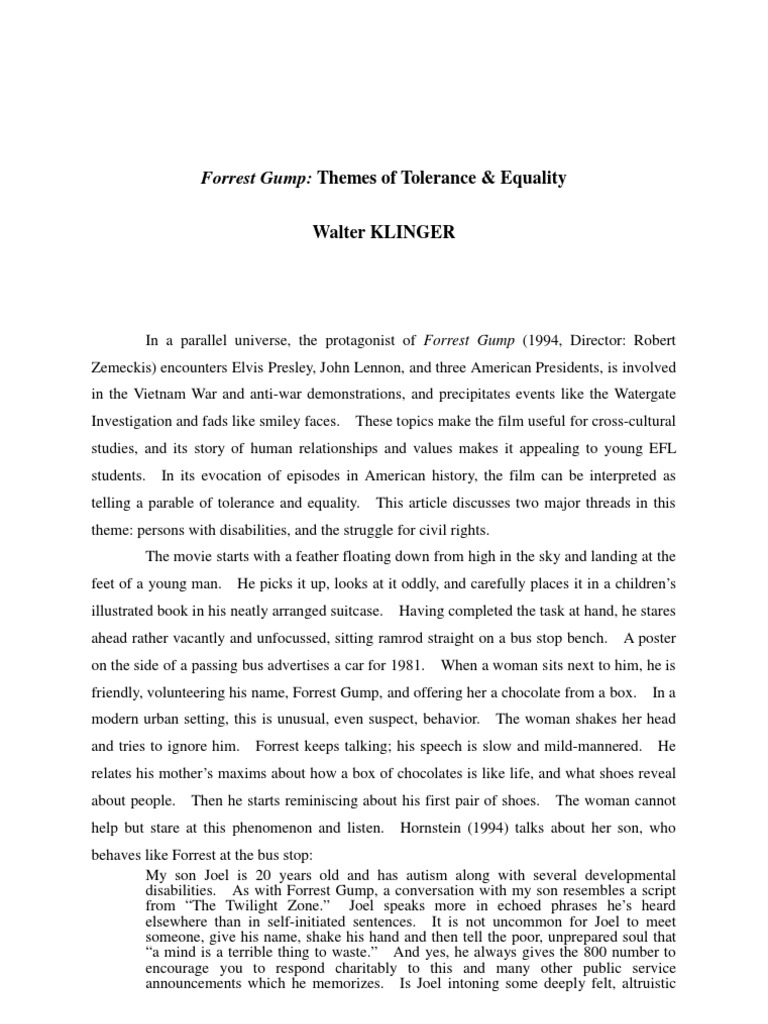 Essay About High School Forrest Gump Themes Of Tolerance  Equality Research Essay Thesis Statement Example also Buy Essay Papers Online Download Forrest Gump Essay  Docsharetips Term Papers And Essays