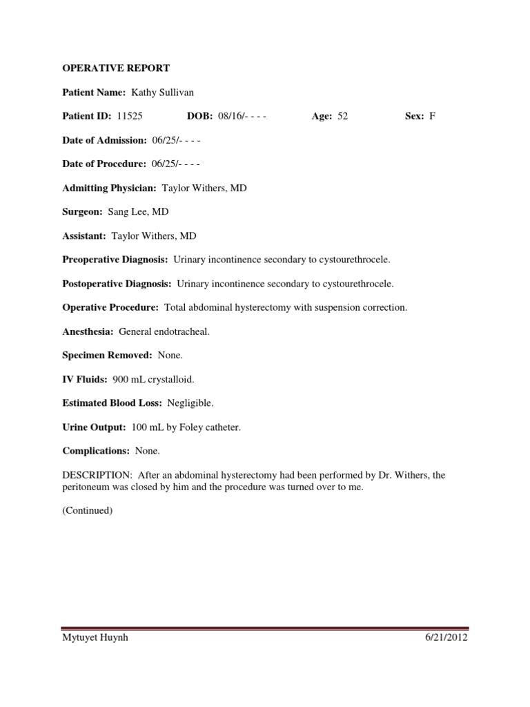 Download Sample Operative Report For 2014