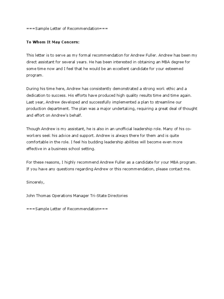 Free Sample Letter of Recommendation Business MBA
