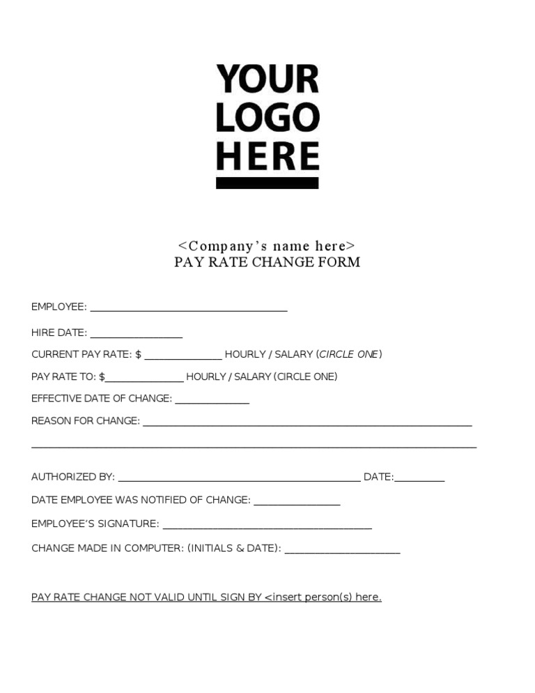 Pay Rate Change Form Docshare Tips