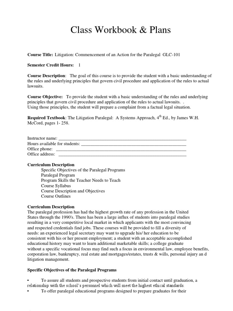 Paralegal Certificate Course Workbook Answers Best Design